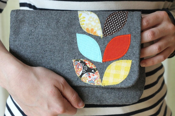 ONE OF A KIND Spring Leaves Clutch, Gray Wool, Applique