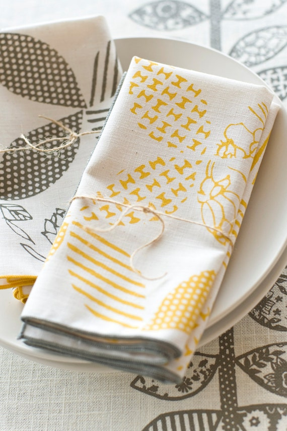 As Seen in REAL SIMPLE, Hand Printed Cloth Napkins, Sunshine Yellow, set of FOUR Anna Joyce Textile Collection