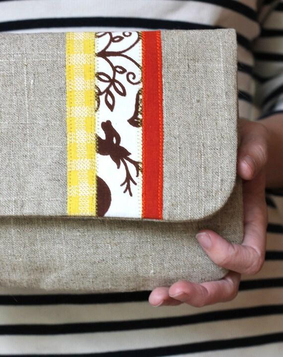 Small Scandinavian Stripe Linen Clutch, Applique, Purse