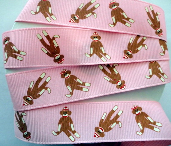 Sock Monkey  pink  grosgrain ribbons 5 yards