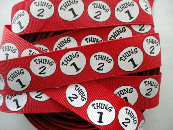 Thing one thing two   grosgrain ribbon 5 yards