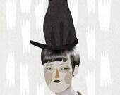 Un gat en el cap / Art Print / Poster / Collage
