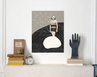 Half woman and fireflies  / Illustration Print