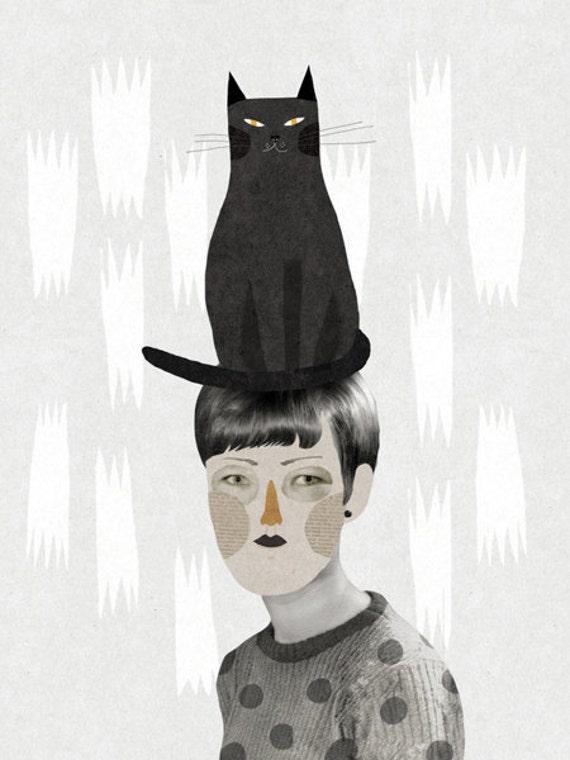 Un gat en el cap / Art Print / A4 / Poster / Collage