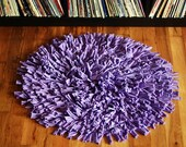 Recycled T-Shirt Rug in Lavender - Round