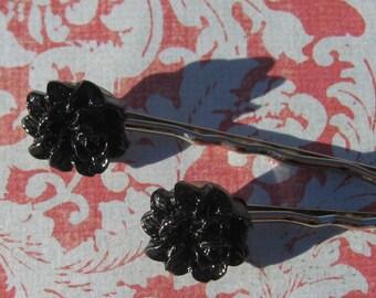 Black Rose Hairpins
