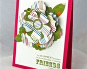 Friendship card handmade stamped paper flower blank embellished