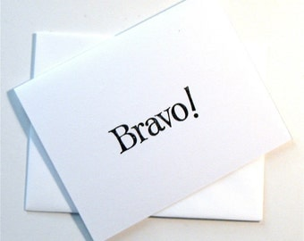 Bravo! card handmade stamped blank congratulations recital performance music graduation theater black white stationery greeting home living