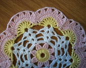 Pink and Yellow Small Spring Doily Set, Easter Table Decor, Pair of Small Crocheted Doilies, Handmade Crocheted Doily Set