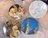 Set of Four Christmas Ornaments - Recycled Cards - Religious Themed