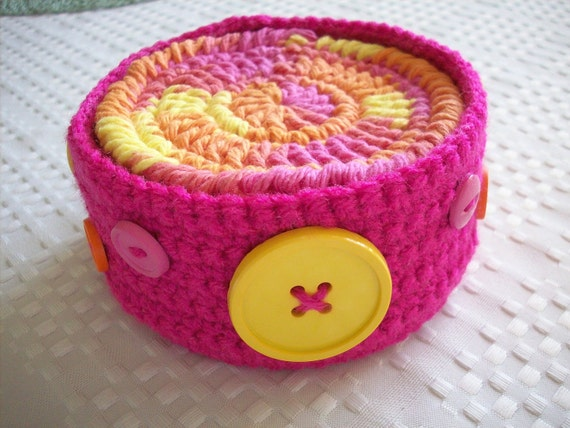 Sale - Save 50 Percent - Set of Six Cotton Coasters, Mug Rugs or Scrubbies in a Coordinating Crocheted Container - Pink, Yellow and Orange