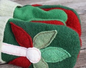 Felted Wool Mittens- Christmas Blooms-Upcycled Clothing