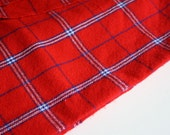 Vintage Wool Fabric-Plaid in Red and Blue