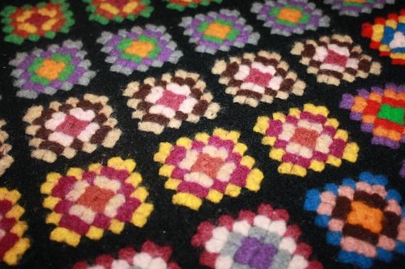 Vintage Crocheted Granny Square Afghan Blanket