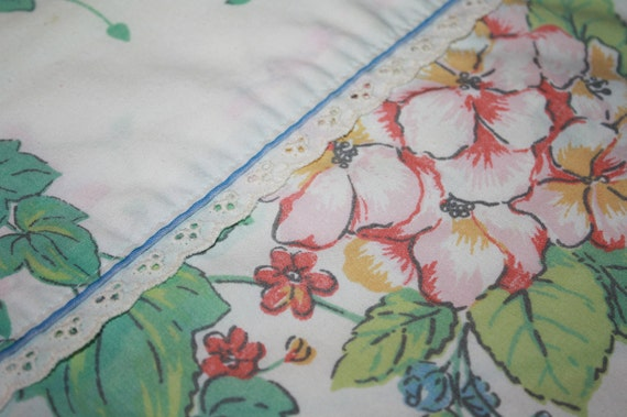 Lovely Lace and Garden-Vintage Flat Sheet