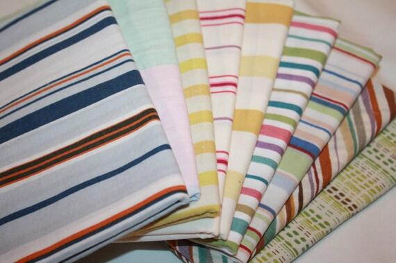 Fat Quarter Fabric Bundle- Reclaimed Bed Linens-The Stripe Stash 87