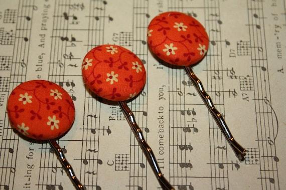 Orange Garden Hair Pins