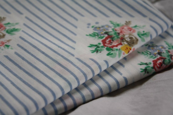 Reclaimed Bed Linen Fat Quarter -Shabby Country Roses