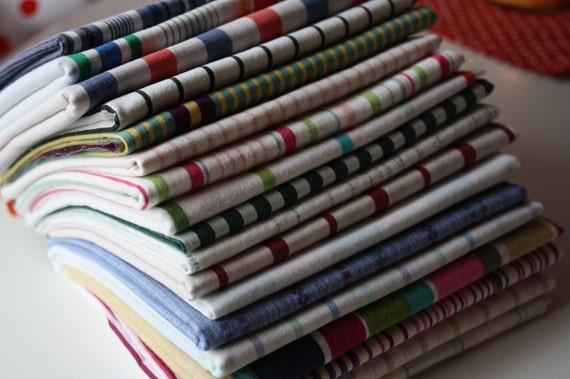 Reclaimed Bed  Linens Fat Quarter Bundle- The Stripe Stash 106