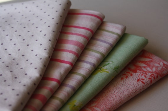 Vintage Fat Quarters-Reclaimed Bed Linens Fabric Bundle-Spring Joy