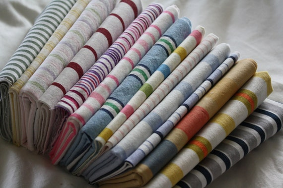64 Reclaimed Bed Linen Quilt Squares-12 Inch-Stripes