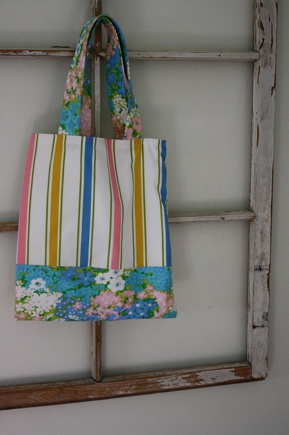 Stripes Library Tote-Upcycled Bed Linens