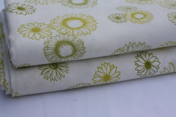 Bed Sheet Fabric-Green and Yellow Floral-Reclaimed
