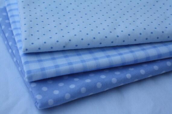 Fat Quarter Bundle- Reclaimed  Bed Linen fabric -Blue Polka Dots