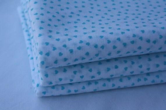 Vintage Hearts Fabric-Aqua