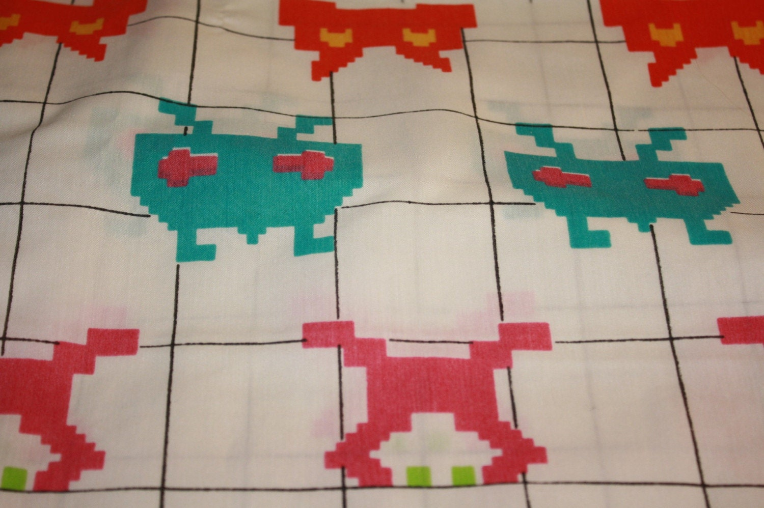 Vintage space invaders fabric reclaimed for Vintage space fabric