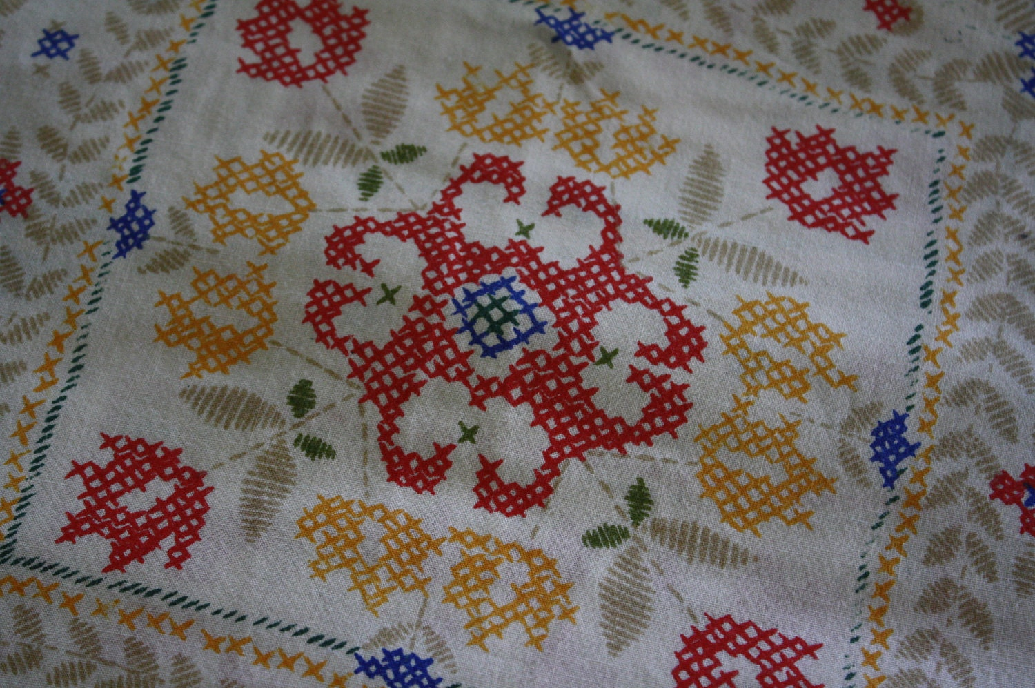 Vintage Fitted Sheet Cross Stitch Patches Full Size