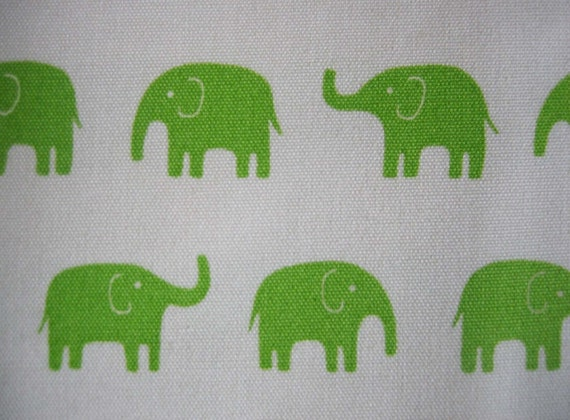 japanese cotton elephant fabric, green elephants on neutral canvas