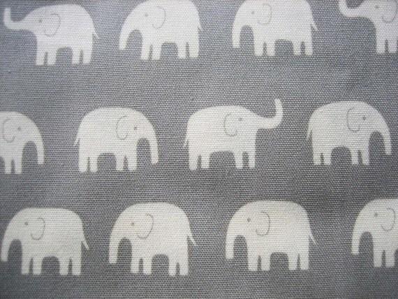 japanese cotton canvas elephant fabric, grey