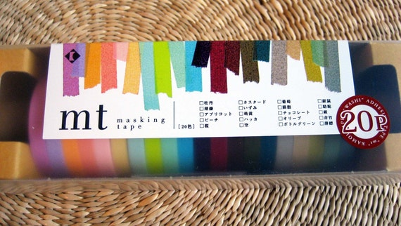 japanese decorative masking tape, 20 color set
