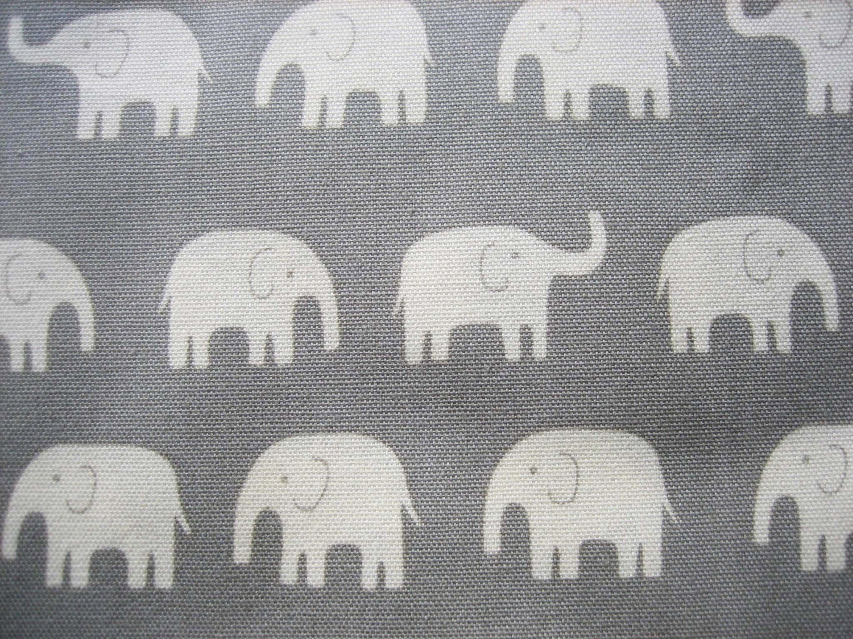Japanese cotton canvas elephant fabric grey for Elephant fabric