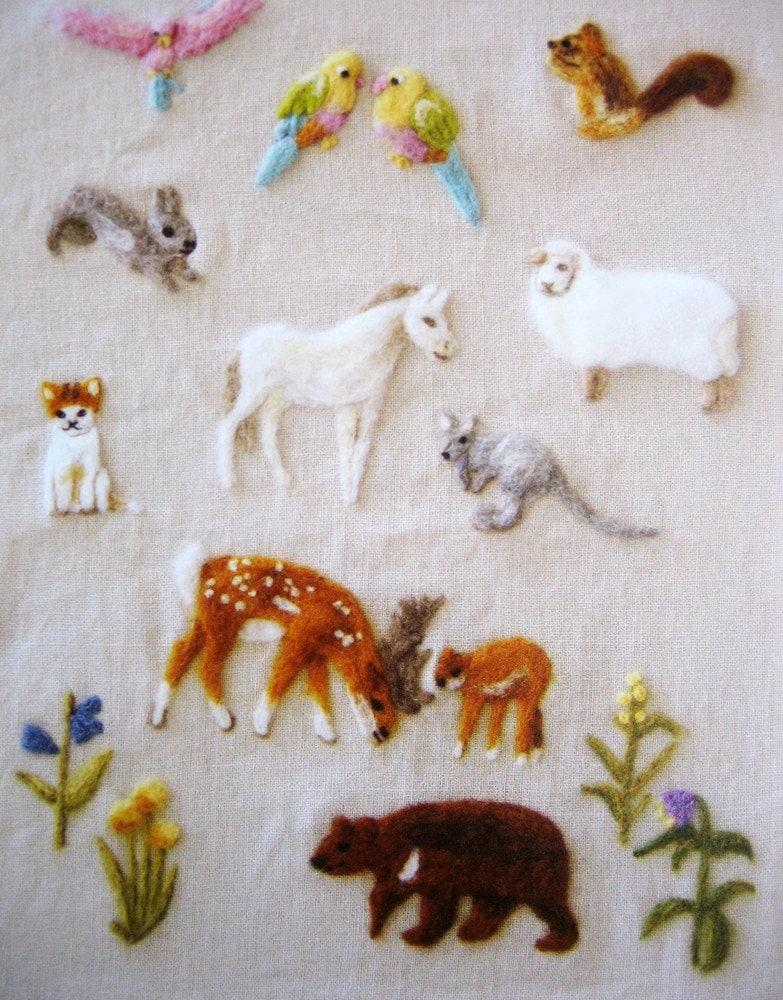 Wool felt embroidery japanese needlefelting pattern animal