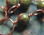 Copper and Unakite Stitch Markers - Set of 4 Dual Duty