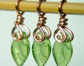 TINY LEAVES - Handcrafted Stitch Markers - Set of 3 - Perfect for Sock Knitters - US3