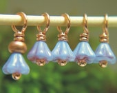 TINY VIOLET - Copper Stitch Markers with Czech Glass - Set of 5 - Perfect for Sock Knitters