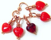 Heart Stitch Markers, REDHOT, Knitting Valentine, Set of 5, Includes Copper Marker Keeper