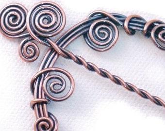 Copper Shawl Pin - Harmony Spirals