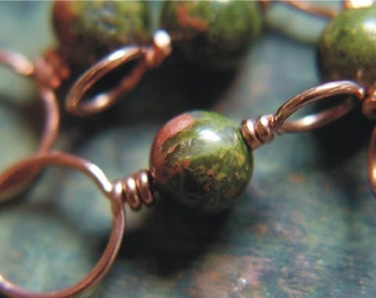 Knitting Stitch Markers - Copper and Unakite  - Set of 4 Dual Duty