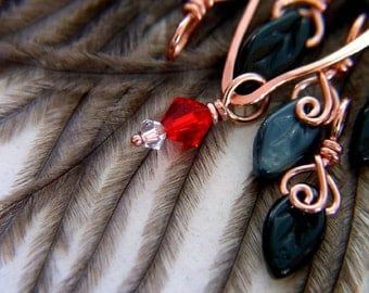 BLACK SWAN - Knitting Stitch Markers  - Set of 7 - US4 - Includes Copper Stitch Holder / Pin