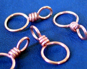 Copper Element - Handmade Dual Duty Stitch Markers - US11-US6 - Set of 4 Dual Duty - Round Bright Finish