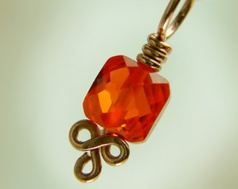 SUNDROP - Copper and CZ Stitch Marker - Orange Red - Sized and Made to Order - US6 up to US15