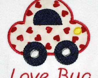 Valentine's Day Bodysuit or Shirt for Boy or Girl little Love Bug Car with Hearts Applique