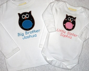 Personalized Bodysuits or Shirts Perfect Pair Any Applique Design Sibling Set for Big Brothers Big Sisters Little Brothers Little Sisters