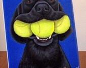 Black Labrador Retriever with Tennis Balls by Nesbitt ARt Tile 8x10