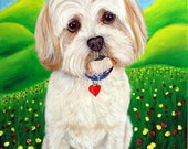 Happy, Shih Tzu, Lhasa Apso Dog Painting, 8x10 Fine Art Print