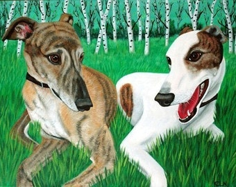 Greyhound Dog Painting with Birch Trees-  Fine Art Print by Iyer